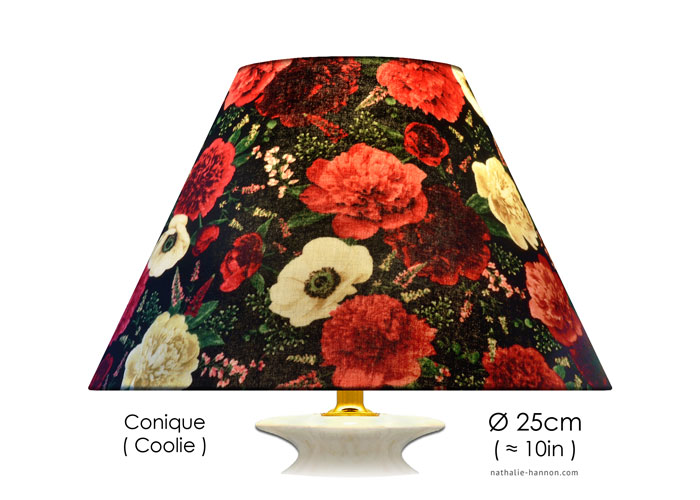 Lampshade Floral Blooms on Black