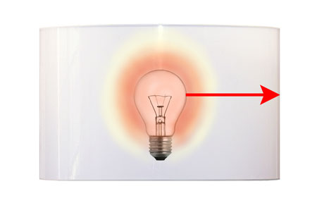 Light bulb distance required between an incandescent light bulb and a cylinder shaped lamp shade.