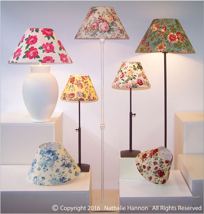 Floral printed fabric lamp shades in a large variety of printed fabrics for a unique lighting interior design by Nathalie Hannon designer