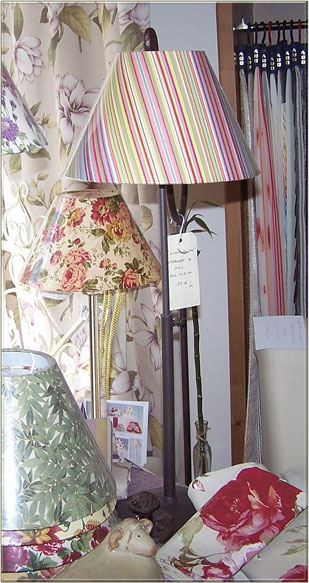 Original and unique fabric print lamp shades by Nathalie Hannon designer