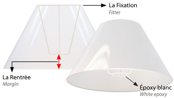 European lampshade with an E27 fitter ring for standard European lamp sockets.