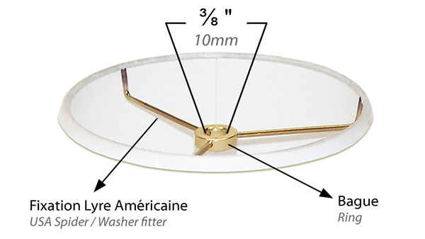 Détails et Illustration d'une fixation lyre standard Américain d'un abat-jour pour lyre de lampe standard Américain.