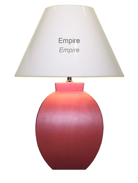 Sizing an empire shaped lampshade in harmony with a lamp base.
