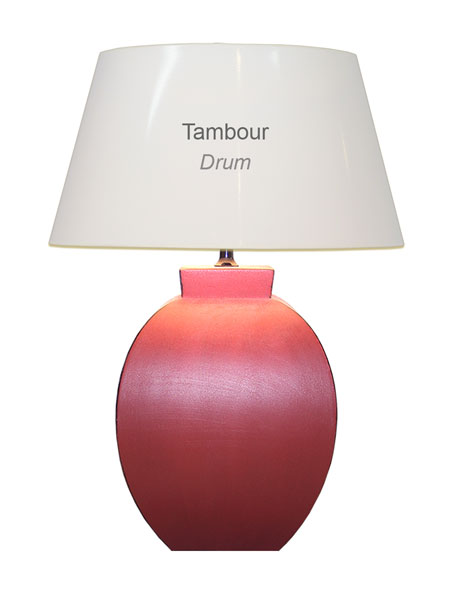 Sizing a drum shaped lampshade in harmony with a lamp base.