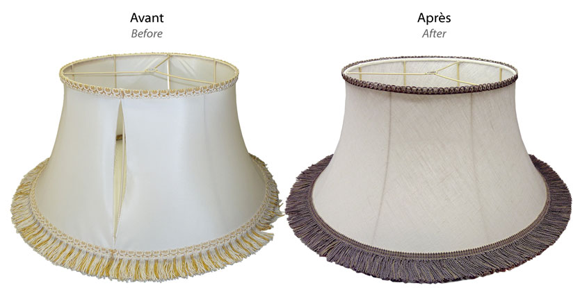 Custom-made softback lampshade before and after transformation with original wire fitter frame created by Nathalie Hannon.