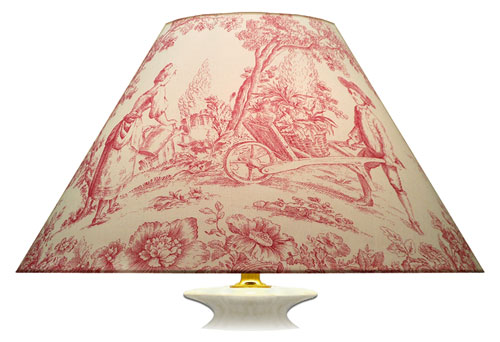 Large cream and pink toile printed lampshade with different large scene print designs.