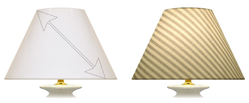 Fabric placement on bias for striped printed design fabrics on the front face of a coolie shaped lampshade.