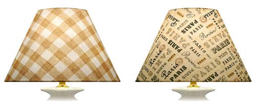 Direction et sens des tissus imprimés carreaux et écritures sur la face avant d'un abat-jour en biais pour abat-jour en formes coniques.