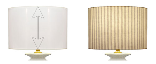 Cylinder shaped lampshade fabric placement on straight of grain for striped printed designs.