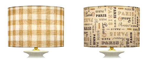 Direction of fabric placement on straight of grain for cylinder shaped lampshades with check and writing prints.