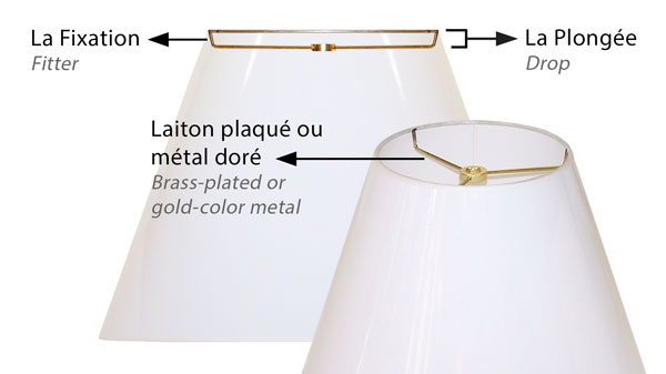 Lamp shade with an American standard spider-washer top fitter for American standard harps.