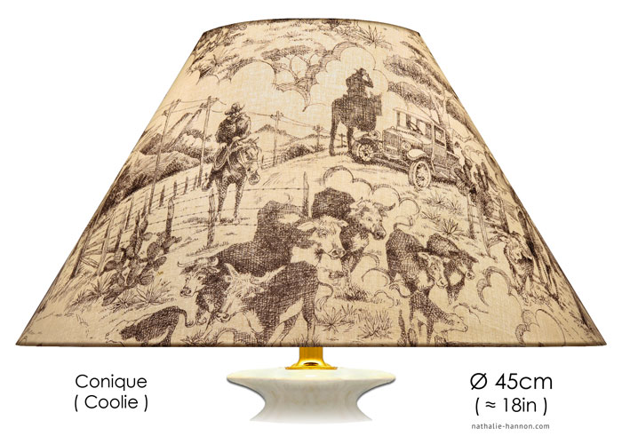 Lampshade Texas Etching Toile